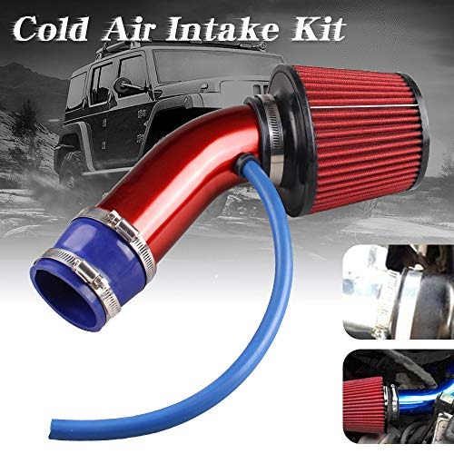 Sporacingrts Cold Air Intake Pipe, 76mm 3 Inch Universal Performance Car Cold Air Intake Turbo Filter Aluminum Automotive Air Filter Induction Flow Hose Pipe Kit (Red)
