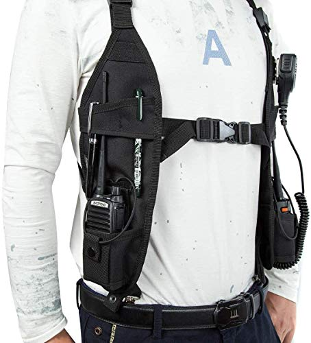 Universal Double Radio Shoulder Vest Rig, Heavy Duty Radio Holster, Tactical Radio Harness, Radio Holder for Police Firefighter Two Way Radio Walkie Talkie,Search Rescue Essentials