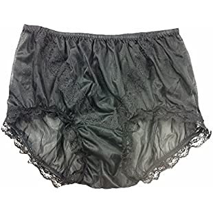 SSH08D03 Black Handmade Style Vintage Knickers Women Panties Hipster Nylon Underwear Men Briefs (XL(UK18/EU46))