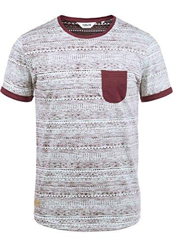 !Solid Ingo Herren T-Shirt Kurzarm Shirt Mit Rundhalsausschnitt und Inka-Print Aus 100% Baumwolle, Größe:L, Farbe:Wine Red (0985)