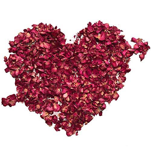 XCOZU Getrocknete Rosenblätter, 100 Gramm Natürliche Rote Rosen Echte Blume Rosenblatt Konfetti für Hochzeiten Fußbad Bad Party und DIY Handwerk Zubehör Biologisch Abbaubar