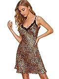 SheIn Women's Satin Leopard Nightgown V Neck Slip...