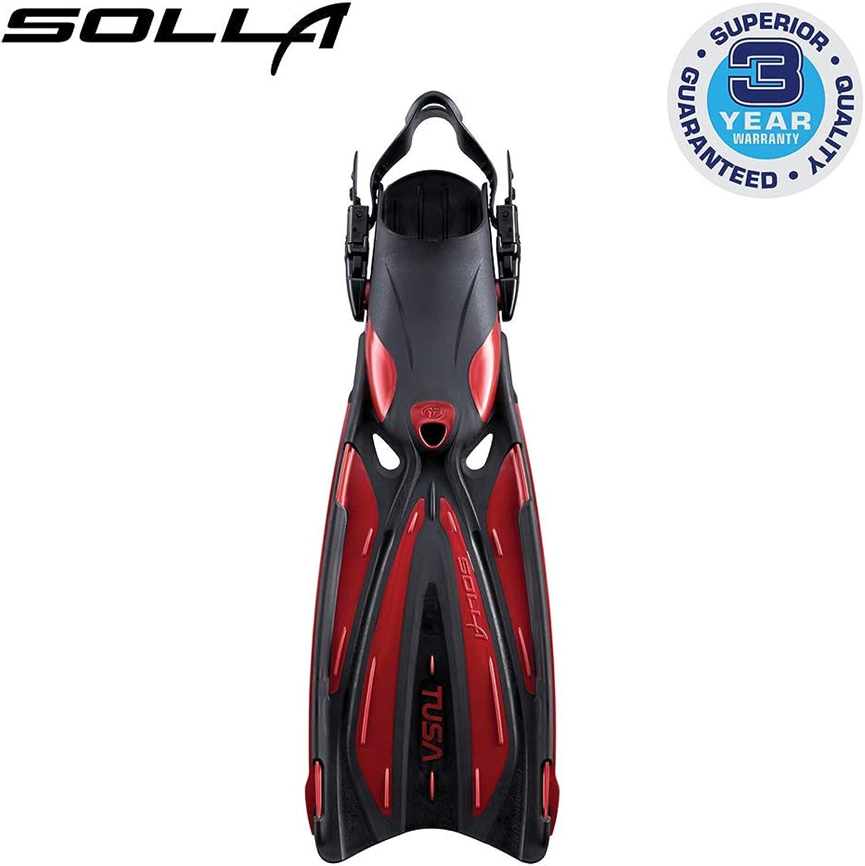 Tusa SF22 Solla Open Heel Scuba Diving Fins  Metallic Dark Red  Medium
