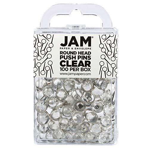 JAM PAPER Colorful Push Pins - Round Head Map Thumb Tacks - Clear Pushpins - 100/Pack