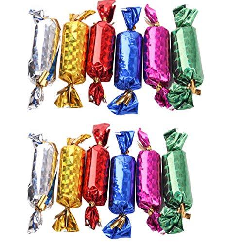 dancepandas Albero di Natale Palline Forma di Caramelle 72PCS 1.5cm 2cm Hanging Candy Cane Natale in Vari Colori, per Alberi di Natale, Nozze, Partito Decorazione