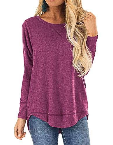 HIYIYEZI Fall Long Sleeve Plus Pullover Side Split Loose Casual Tunic Tops (Small,Mauve)