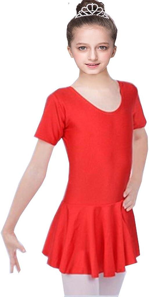 Shiny Toddler Girls Shorts Sleeves U Neck Ballet Leotard Ruffled Tutu Dress