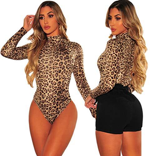 AMABILEMIA Body donna a maniche lunghe leopardato bodysuit sexy aderente elegante top collo alto elasticizzato DS32451 (Leopardato, Taglia M)