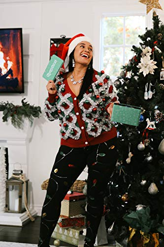 Women's Garland Christmas Sweater - Green and Red Tinsel Ornament Ugly Christmas Cardigan: Small