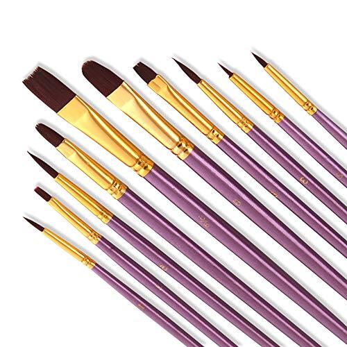 Bougimal 10 Stück Pinsel Set, Premium Nylon Acrylfarben Pinsel, Hölzernen Griff Pinsel Künstler Satz für Aquarell Ölgemälde, Perfektes Malerei Ölfarben Brush Set für Anfänger, Kinder, Künstler