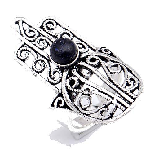 Anillo de piedra solar negro chapado en plata oxidada joyería artística hecha...