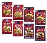 Santa Maria - 8 sobres de mezcla de condimentos: 2 tacos (8 porciones) + 2 chili (8 porciones) + 2 fajita (8 porciones) +2 burrito (8 porciones) - total 32 porciones (224 gramos)