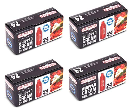 Chef-Master Whipped Cream Chargers, 96 Pack of 8 gram Cartridges for Whipped Cream Chargers, Nitrous Oxide Cream Chargers, Easy to Use, Made in Europe, Value Pack of 96 Units