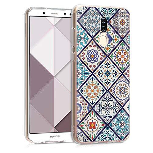 kwmobile Coque Compatible avec Huawei Mate 10 Lite - Housse pour téléphone Protection Souple en TPU - Bleu-Orange-Blanc