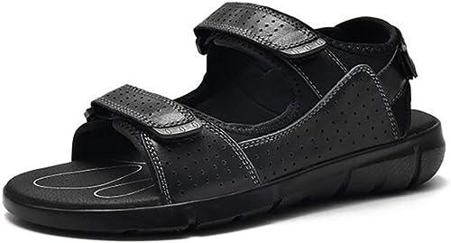 Fuxitoggo Sandales en Cuir pour Hommes Randonnée en Plein air Randonnée Trekking Chaussures Sport d'été Chaussures de Sport Open Toe Gladiator Sandales Plage Slip Chaussures Décontracté