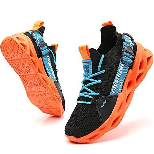Ezkrwxn Sneakers for Men Athletic Tennis Walking Shoes Fashion Sport Running Shoes Black Orange Size 8.5