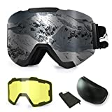 Extra Mile Ski Snowboard Snow Goggles, Magnet Dual Layers Lens with 2 Modeling Lens, Anti-Fog UV400 OTG...