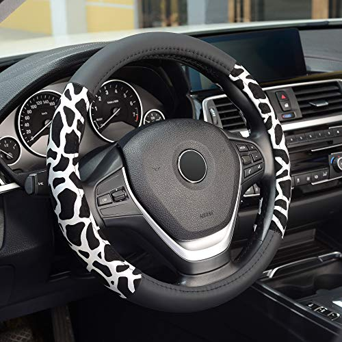 KAFEEK Steering Wheel Cover, Universal 15 inch, Black Microfiber Leather, Anti-Slip, Odorless,Leopard White