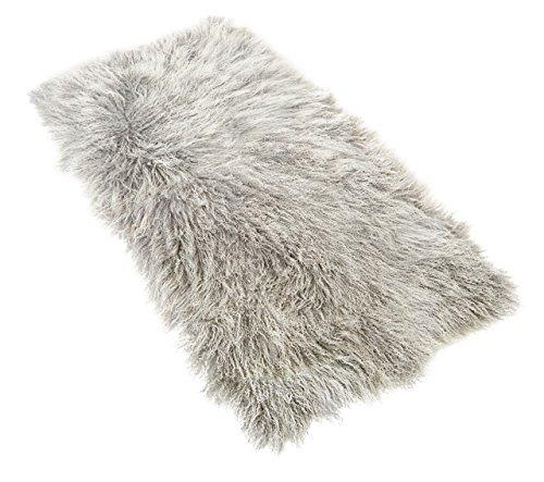 Tibet Lammfell Teppich 60x120cm (große Farbauswahl) JAY105 Farbe Silber grau (Tops)