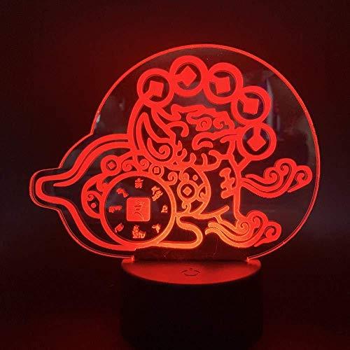 Spielzubehör für Schreibtisch Nachtlicht Wohnzimmer Dekorative Lampe 3D LED Nachtlicht Chinesische Mythische Hybrid Kreatur Chimäre Geld Leistungsstarkes Schutztier mit Fernbedienung 3D