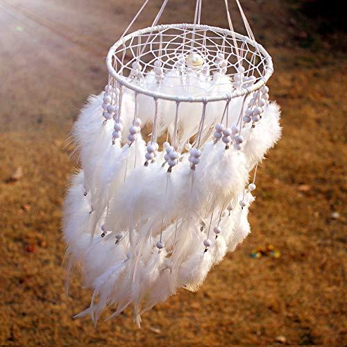 Ksydhwd Campanas de viento originales Hanging Feather Pearl Dreamcatcher Wind Chimes colgante de estilo indio Dream Catcher Gift