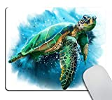 Smooffly Gaming Mouse Pad Custom,Big Sea Turtle Watercolor Non-Slip Rubber Comfortable Customized Computer Mouse Pad 9.5 X 7.9 Inch (240mmX200mmX3mm)