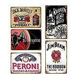 5 uds, placa de whisky de cerveza Vintage, letrero de metal Retro, letrero de chapa para hombre, bar, pub, publicidad, decoración de pared, 20x30cm