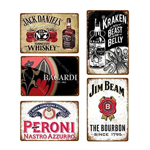 5 pz Vintage Beer Whisky Targa Retro Targa in metallo Targa in metallo da uomo Cave Bar Pub Pubblicità Decorazione murale 20x30 cm YD4272J