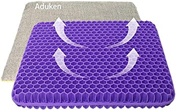 Aduken Gel Seat Cushion-Non-Slip Cover with Ties Gel Egg Office Seat Cushion for Tailbone Pain-Office Chair Car Seat Cushion-Sciatica & Back Pain Relief(16x14x1.4 Inch(Gray Cover with Ties))