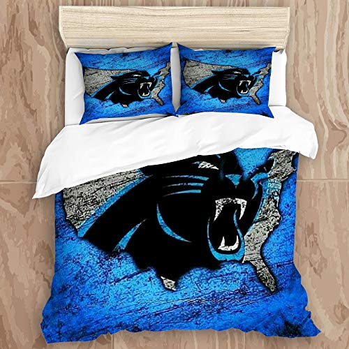YCHY NANITHG Duvet Cover Set,Rugby Team Car-o-lina Pant-Hers (21) Decorative 3 Piece Bedding Set with 2 Pillow Shams, Queen Size