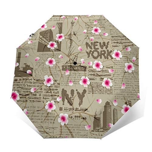 New York Zeitung mit Kirschblüten Skizze Regenschirm Winddicht Kompakt für Damen Herren Reise Faltbarer Sonnenschirm