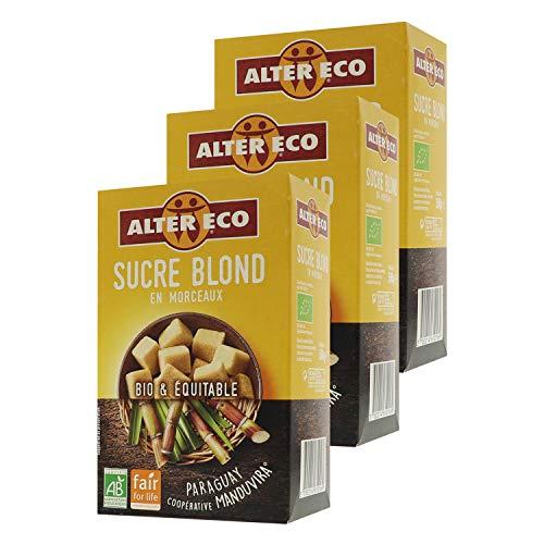 Alter Eco Sucre Blond Pure Canne en Morceaux Bio & Équitable - 500 g - Lot de 3