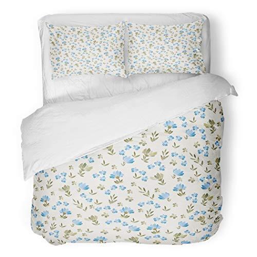 Y·JIANG Juego de funda de edredón de 3 piezas, diseño floral, color beige y azul, 100% microfibra, 1 funda de edredón y 2 fundas de almohada, tamaño individual