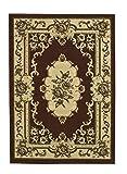 Think Rugs Marrakesh - Alfombra de diseño floral tradicional hecha a máquina, 100% polipropileno, 160 cm x 220 cm, color marrón
