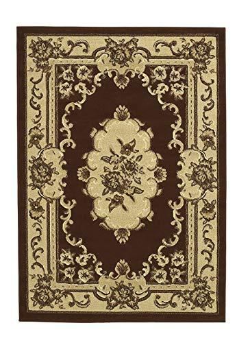 Think Rugs Marrakesch Teppich mit traditionellem Blumenmuster, maschinell hergestellt, 100 {e81dae7ee4e458f9168714e364a071513094a76c7e377a3528e88fe92a2f7817} Polypropylen, große Bodenmatte, 160 x 220 cm, Braun