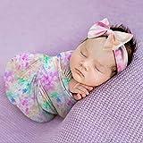 Newborn Receiving Blanket Headband Baby Tie Dye Swaddle Blanket Warp Infant Photo Props Nursery Blanket (Light Rainbow)