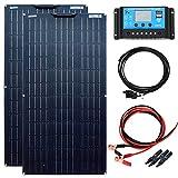 YUANFENGPOWER Kit de panel solar de 200 W 12v 2 piezas 100 W 18 V Módulo solar mono flexible Controlador solar de 20 A para camper, barco, automóvil, caravana, cargador de batería de 12 V (200)