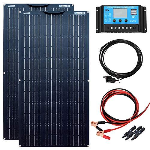 YUANFENGPOWER 200W Solarpanel Kit 2St. 100W 18V Flexibles monokristallines Solarmodul 20A Solarregler für Wohnmobil, Boot, Zelt, Auto, Wohnwagen, Anhänger, 12V Batterieladegerät (200)