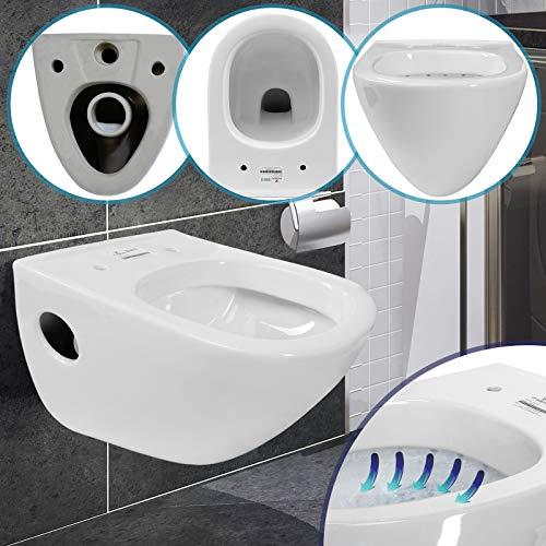 Hänge WC Toilette - 51x35,5x37 cm, rund, aus Keramik, Weiß - Tiefspüler, Wand WC, Hängetoilette
