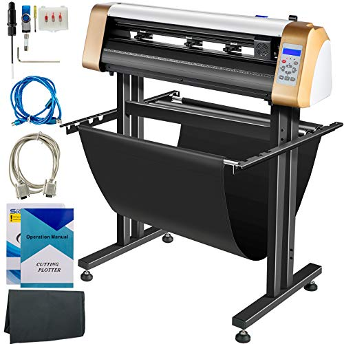 VEVOR Vinyl Cutter Machine, 720mm Cutting Plotter, Automatic Camera Contour Cutting 28 Plotter Printer with Servo Motor & Stand Vinyl Cutting Machine Adjustable Force and Speed for Sign Making