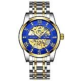 JTTM Relojes, Relojes Hombre Mecánico Automático Estilo Clásico Impermeable Números Esfera con Correa De Acero Inoxidable,Gold Blue