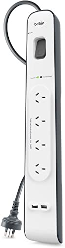 Belkin Quality 2, 4 Amp USB Charging 4-Outlet Surge Protection Strip, White/Grey, (BSV401au2M)