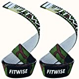 FITWISE Weight Lifting Straps (Pair) for Men Neoprene Padded Wrist Support Non-Slip Cotton Strap Perfect for Weightlifting Power Lifting Cross fit Dead Lifts Workout Fitness Gym