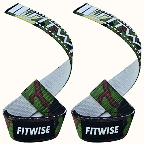 FITWISE Green Camo Weightlifting Straps Neoprene Padded Cotton for Weight Lifting Deadlifts Workout