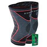 Rymora Knee Support Brace Compression Sleeves for Men and Women (Grey) (Pair) (Large) [L]