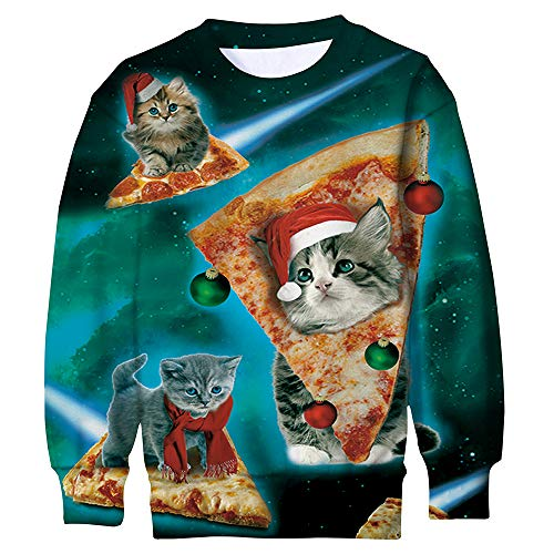 ALISISTER Gracioso Ugly Christmas Jumper Pizza Gato Sweater 3D Manga Larga Caricatura Animal Sudadera Pullover L