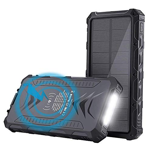 SPARKX Solar Wireless Large Capacity Mobile Power 20000Mah, Battery Pack, with 2 Inputs And 2 Outputs, with Flashlight, Suitable for Laptops, Mobile Phones, Etc, 1 Piece,A