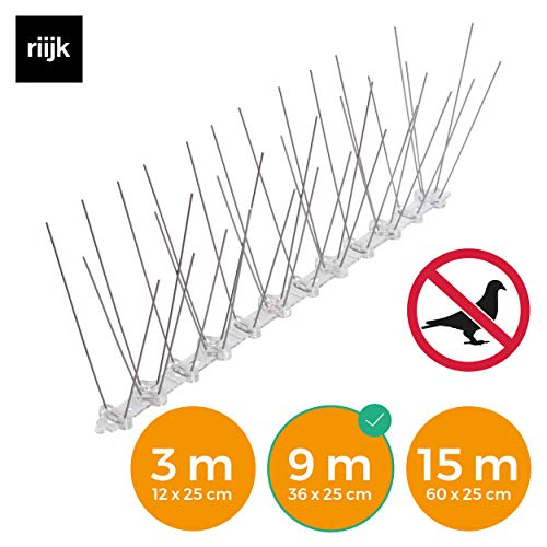 riijk 9 Meter Taubenabwehr Spikes vormontiert | Rostfreie Taubenschreck Vogelspikes | Vogelabwehr Spikes und Vogelschutz | Tierschutzkonformer Taubenschutz