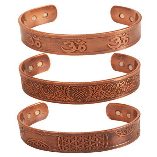 Touchstone Handcrafted by Indian Skilled Artisans Durable High Gauge Pure Copper Peace Healing Celtic Etching Om Inscribed Chakra Mediation Magnetic 3 Bracelets in Natural Tone.