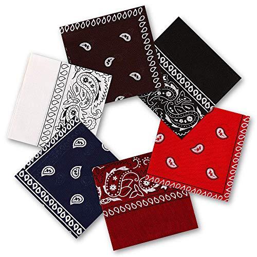 Vivibel Bandana Kopftuch 100% Baumwolle,6er Paisley Bandana Halstuch 55 x 55 cm Kopftuch Armtuch Mischfarben Haar, Hals, Kopf Schal Nickituch Vierecktuch